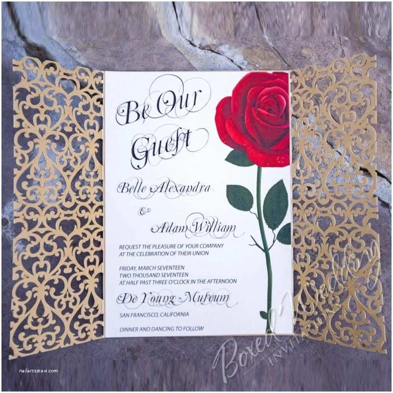Beauty and the Beast Wedding Shower Invitations Red Rose Wedding Invitation Inspired by the Beauty and the