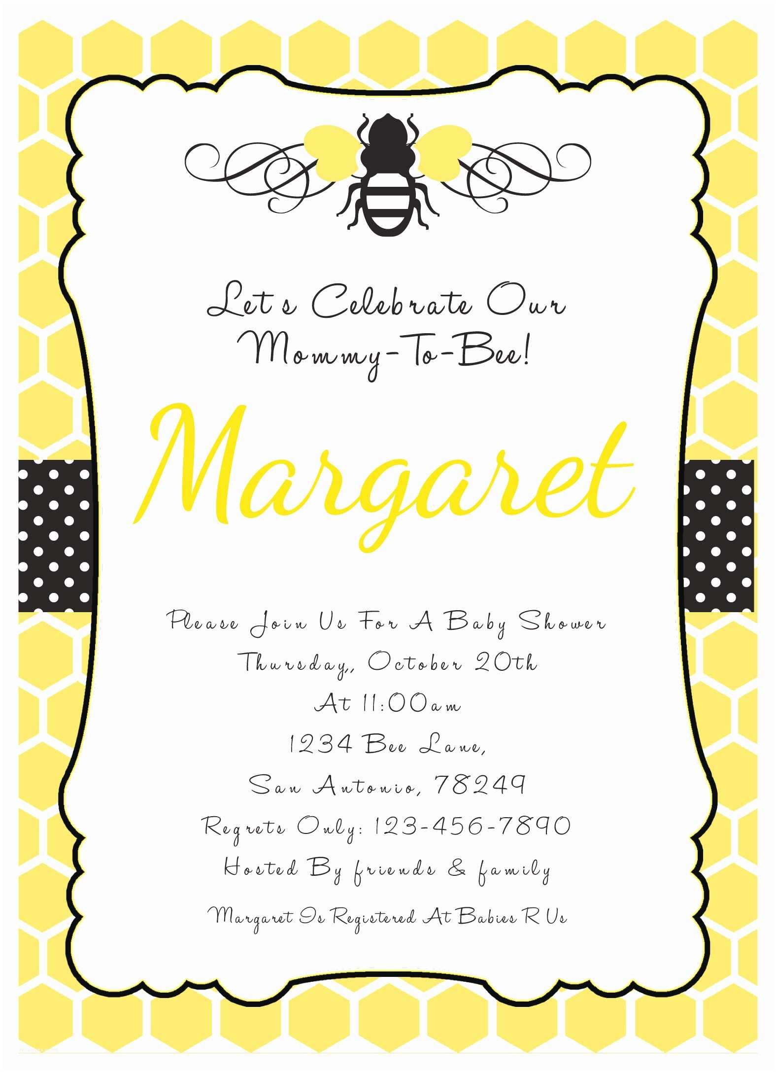 Bee Baby Shower Invitations Baby Shower Invitations Bee theme