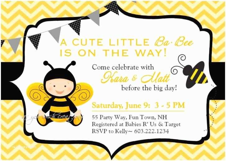 Bee Baby Shower Invitations Bee Baby Shower Invitation Bumble Bee Baby Shower Invite