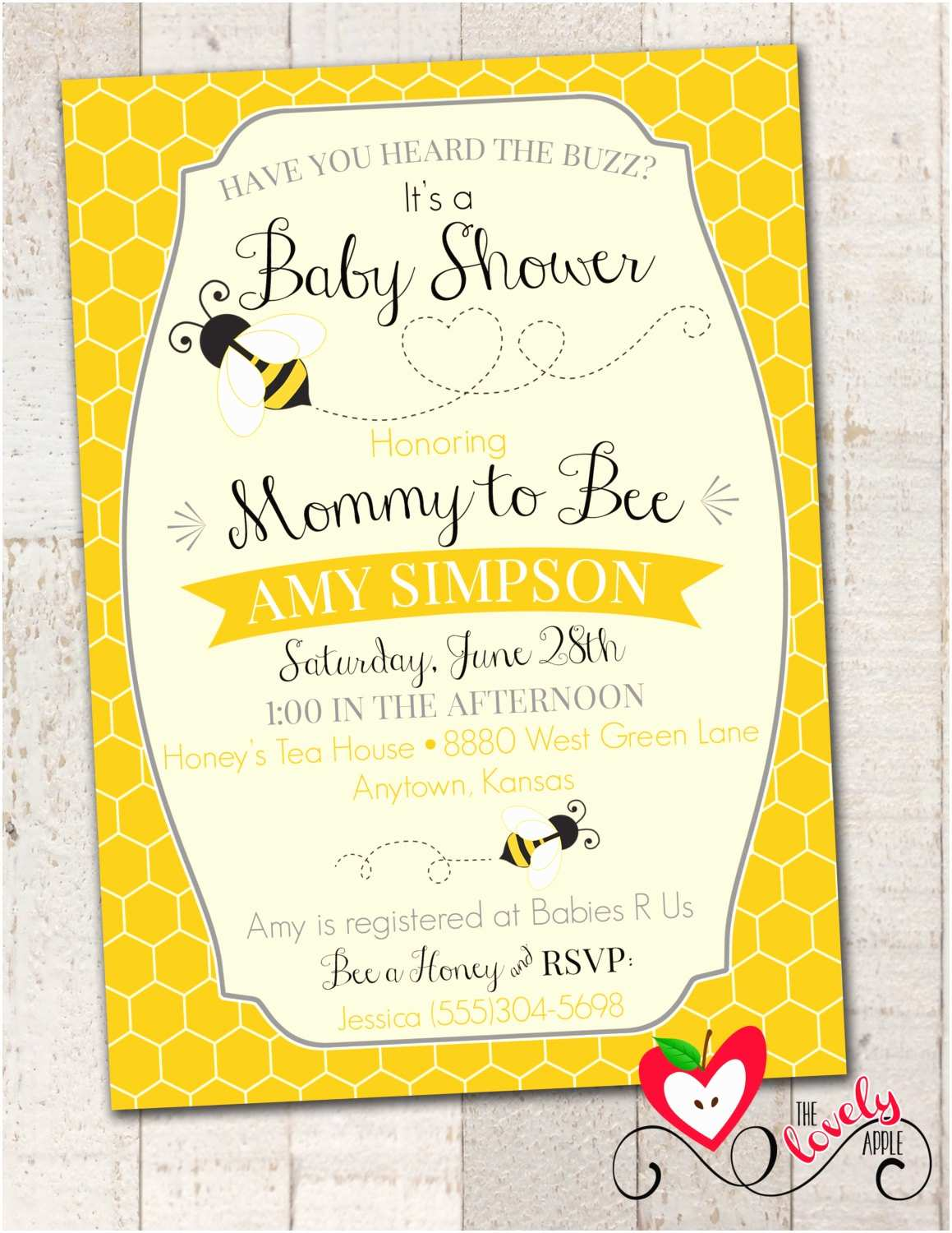 Bee Baby Shower Invitations Bumble Bee Baby Shower Invitation Printable by thelovelyapple