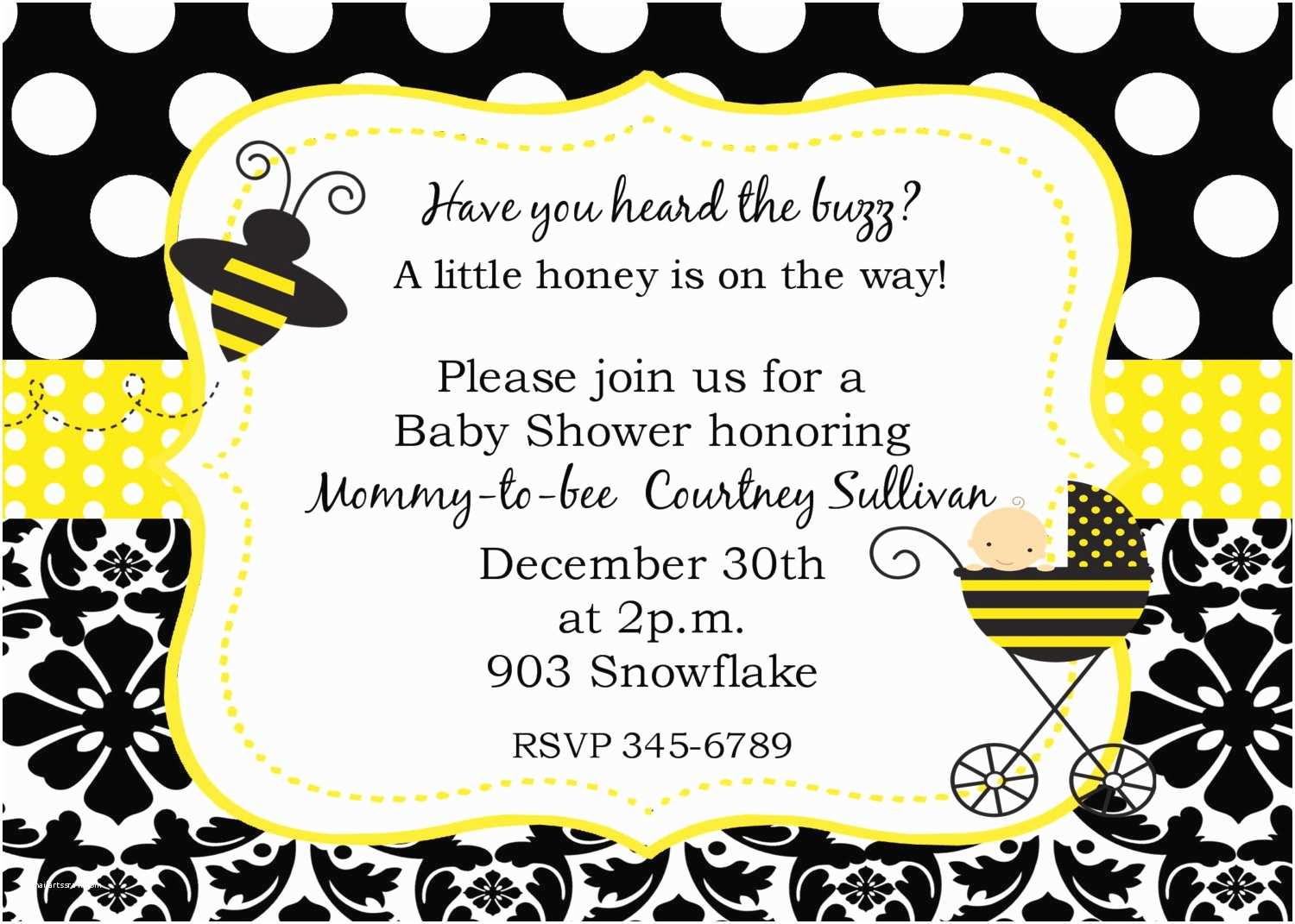 Bee Baby Shower Invitations Bumble Bee Baby Shower Invitations Digital or by Noteablechic