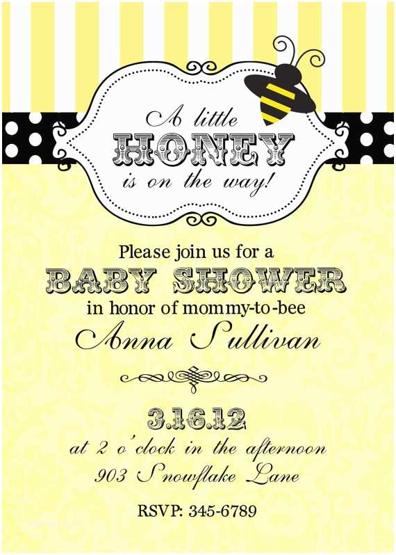 Bee Baby Shower Invitations Bumble Bee Baby Shower Invitations Digital or Printable File