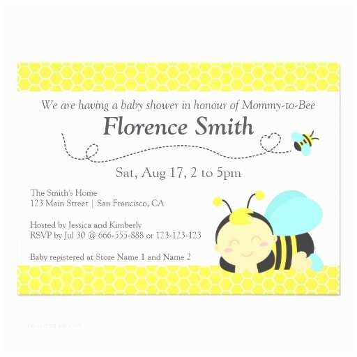 Bee Baby Shower Invitations Cute Bumble Bee theme Boy Baby Shower Personalized Invite