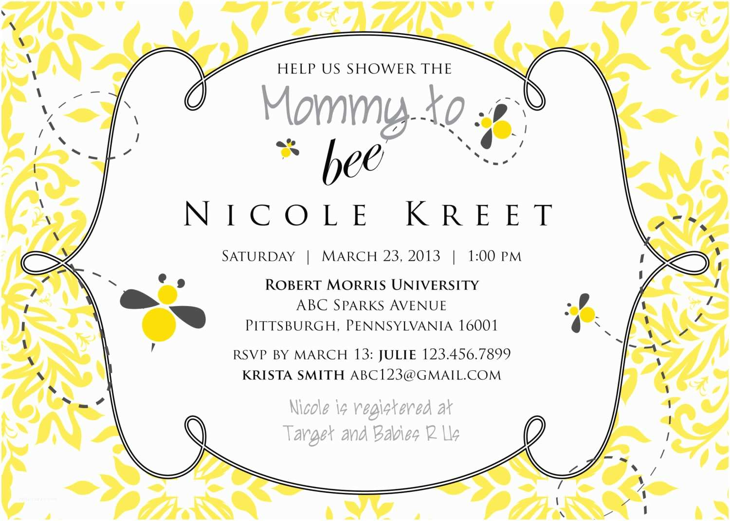 Bee Baby Shower Invitations Mommy to Bee Baby Shower Invitation Printable
