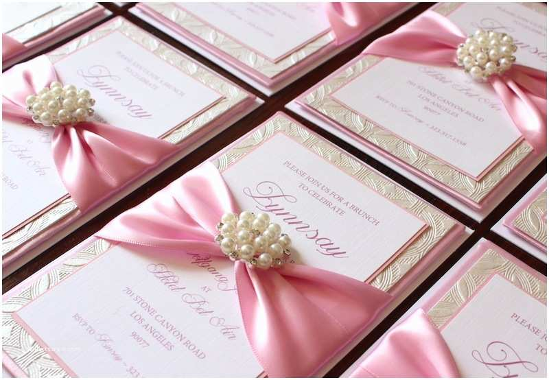 Best Baby Shower Invitations Pink Baby Girl Box Invitations with Pearl Accent for Baby