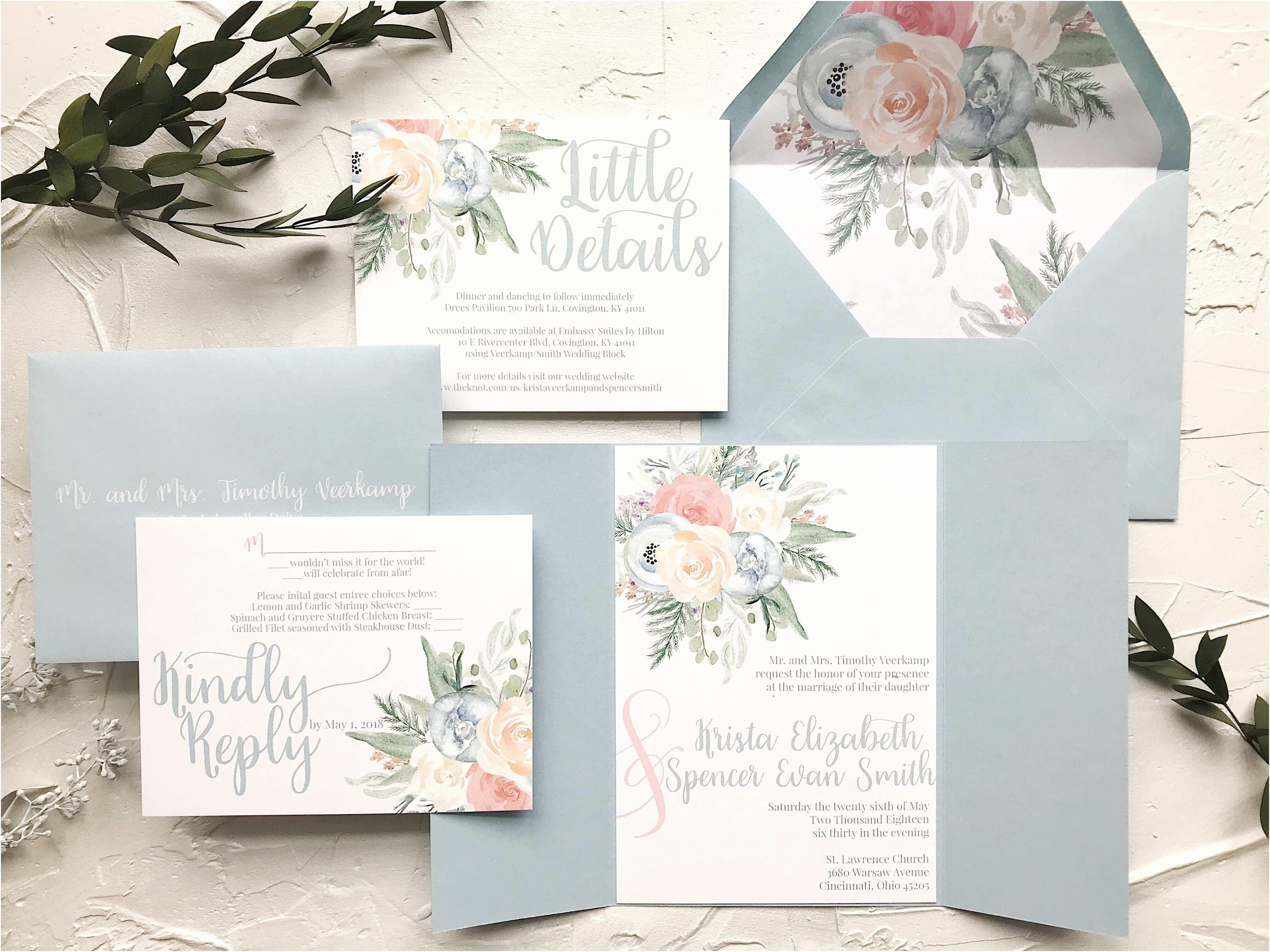 Best Wedding Invitation Sites Invitation Reveal Dusty Blue and Peach Florals Unicaforma