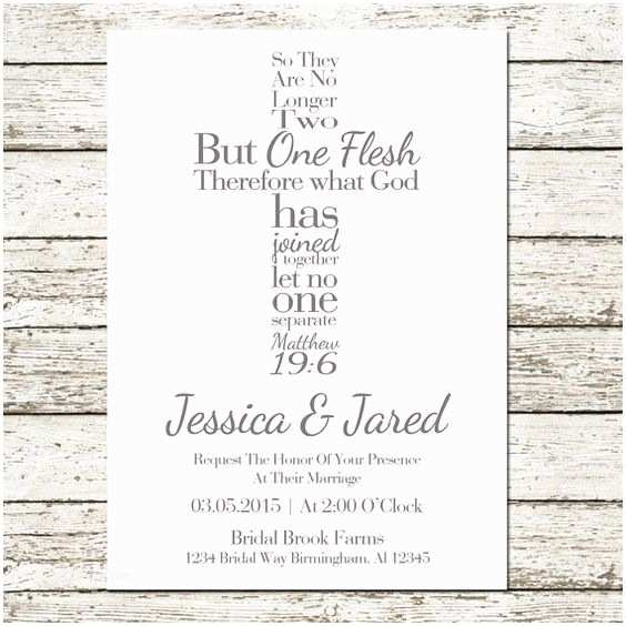 Bible Verses For Wedding Invitation Bible Verse Cross Wedding Invitation Christian Matthew