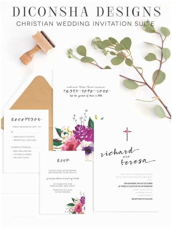 Bible Verses For Wedding Invitation Christian Wedding Invitation • Christian