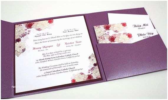 Bilingual Wedding Invitations Bilingual English and Vietnamese oriental Wedding