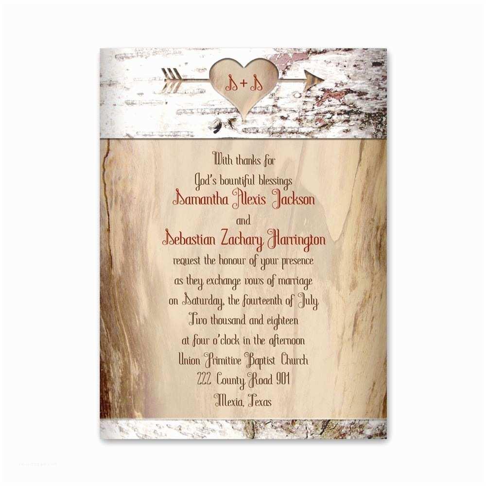 Birch Wedding Invitations Aged Birch Petite Invitation