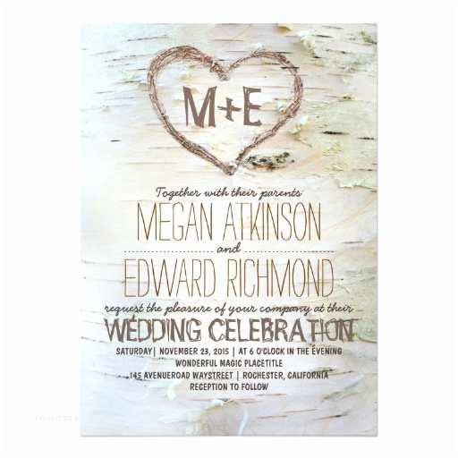 Birch Wedding Invitations Birch Tree Heart Rustic Wedding Invitations
