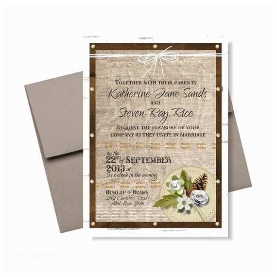 burlap birch wedding invitation suite