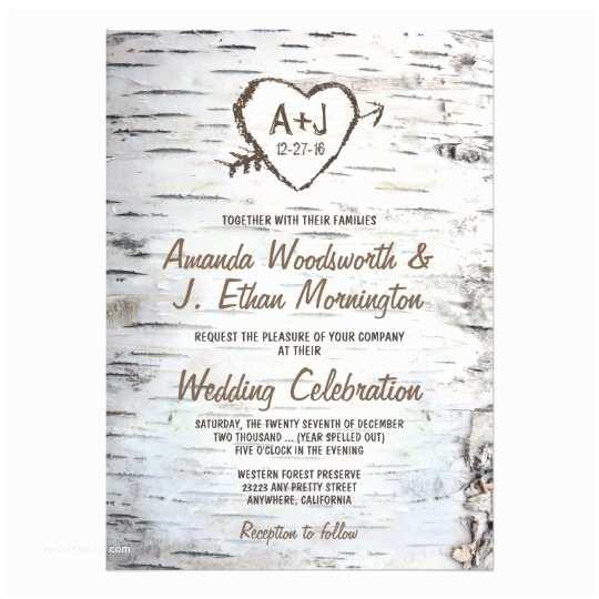 Birch Wedding Invitations Country Rustic Birch Tree Bark Wedding Invitations
