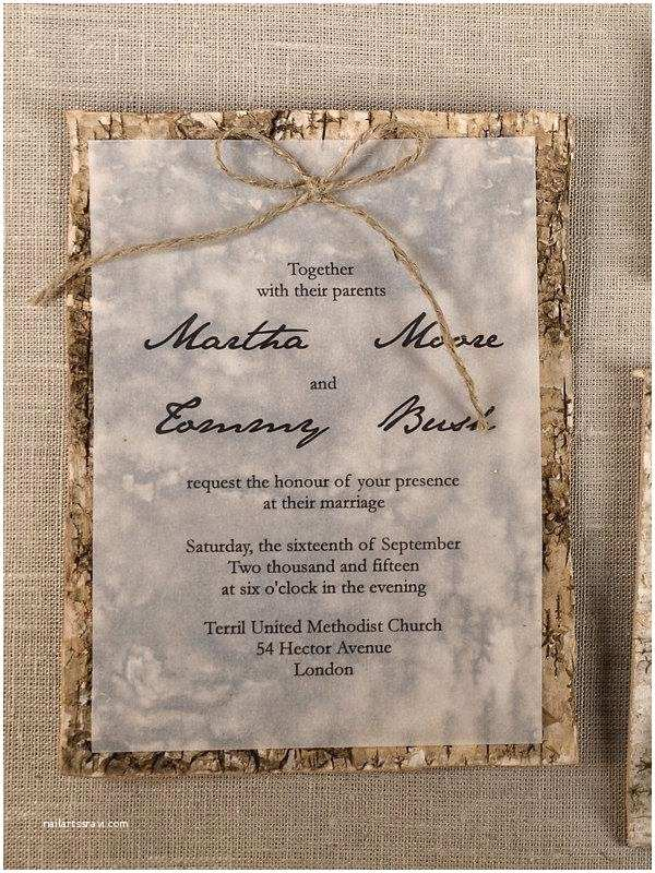 Birch Wedding Invitations Custom Listing 20 Natural Birch Bark Wedding Invitation