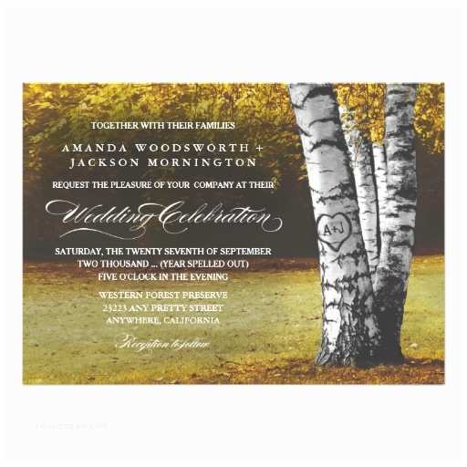 Birch Wedding Invitations Fall Carved Heart Birch Tree Wedding Invitations