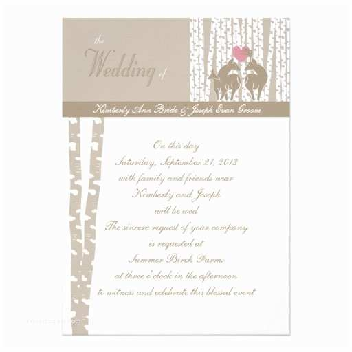 Birch Wedding Invitations Woodland Birch Wedding Personalized Invitation