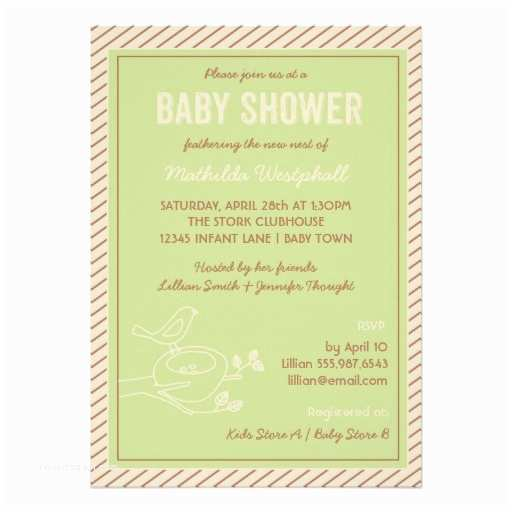 Bird Baby Shower Invitations Bird Nest Green Baby Shower Invitation