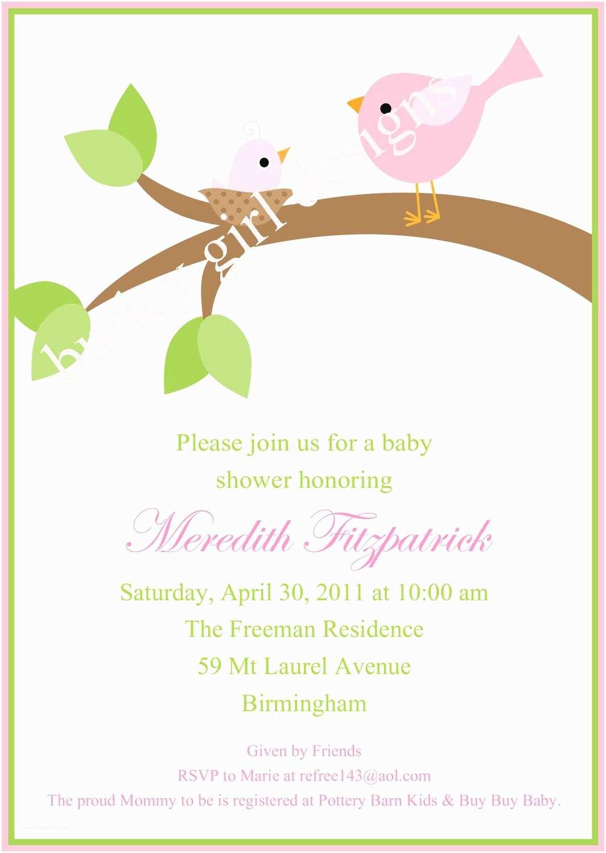 Bird Baby Shower Invitations Sweet Baby Bird Baby Shower Invitation Pink by