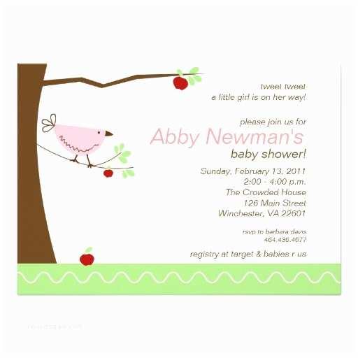"Bird Baby Shower Invitations Tweet Tweet Pink Bird Girl Baby Shower Invitation 5"" X 7"