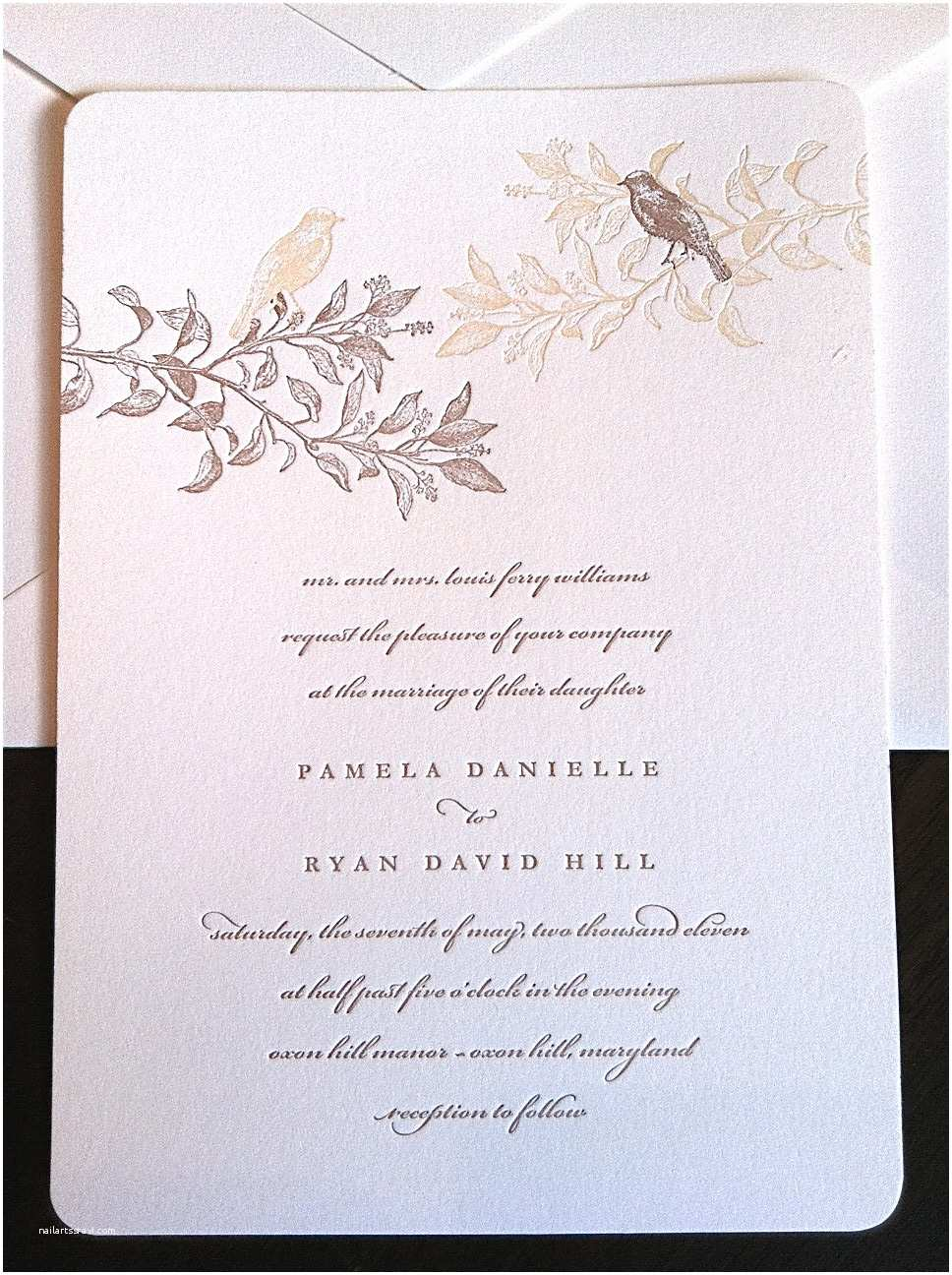 Bird Wedding Invitations Branches and Birds Wedding Invitations Letterpress