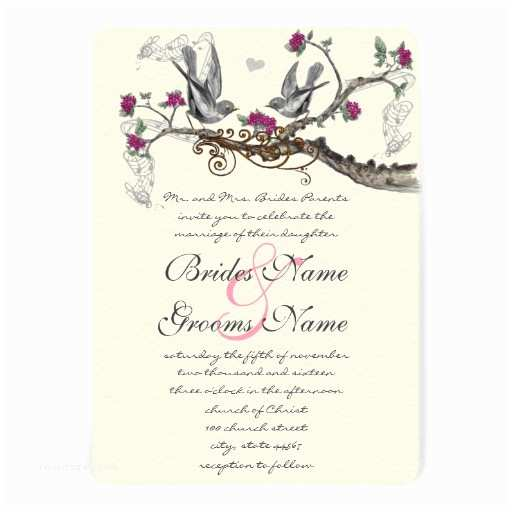 "Bird Wedding Invitations Fuchsia & Gray Vintage Birds Wedding Invitations 5"" X 7"
