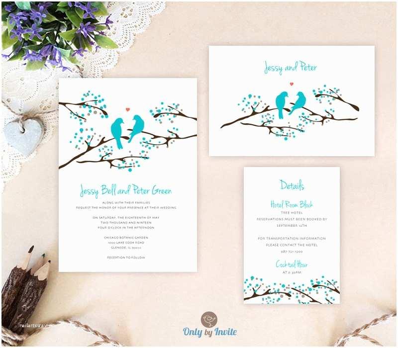 Bird Wedding Invitations Love Bird Wedding Invitation Set Printed Invitation Rsvp