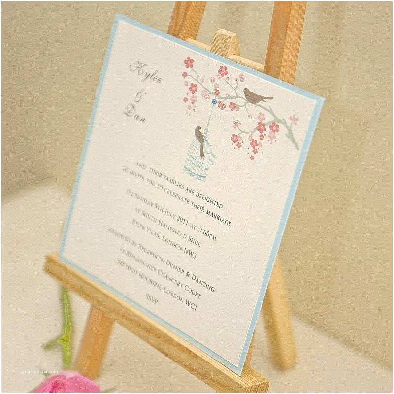 personalised love birds wedding invitation