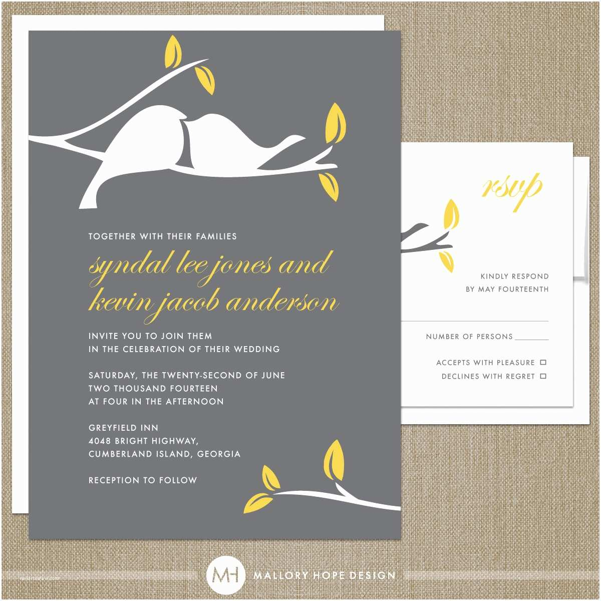 Bird Wedding Invitations Modern Wedding Invitation Modern Bird Wedding Invitation