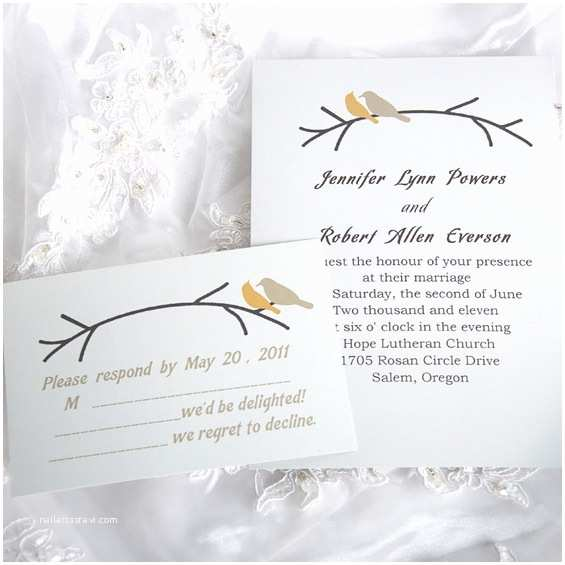Bird Wedding Invitations Simple and Elegant Love Birds Wedding Invitations Ewi122