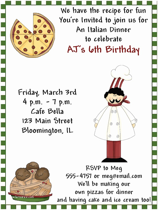 Birthday Dinner Invitation Italian Party Invitations Google Search