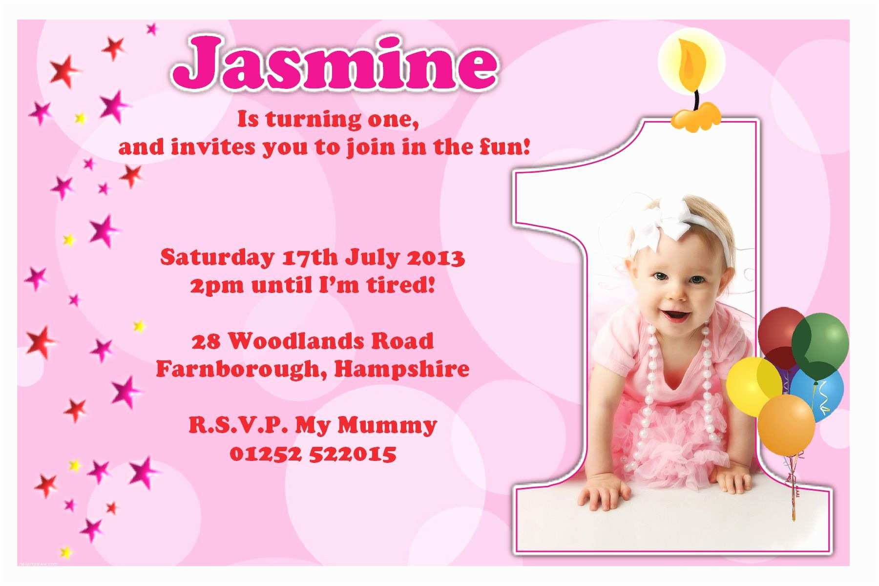 Birthday Invitation Cards 1st Birthday Invitations Girl Free Template Baby Girl S