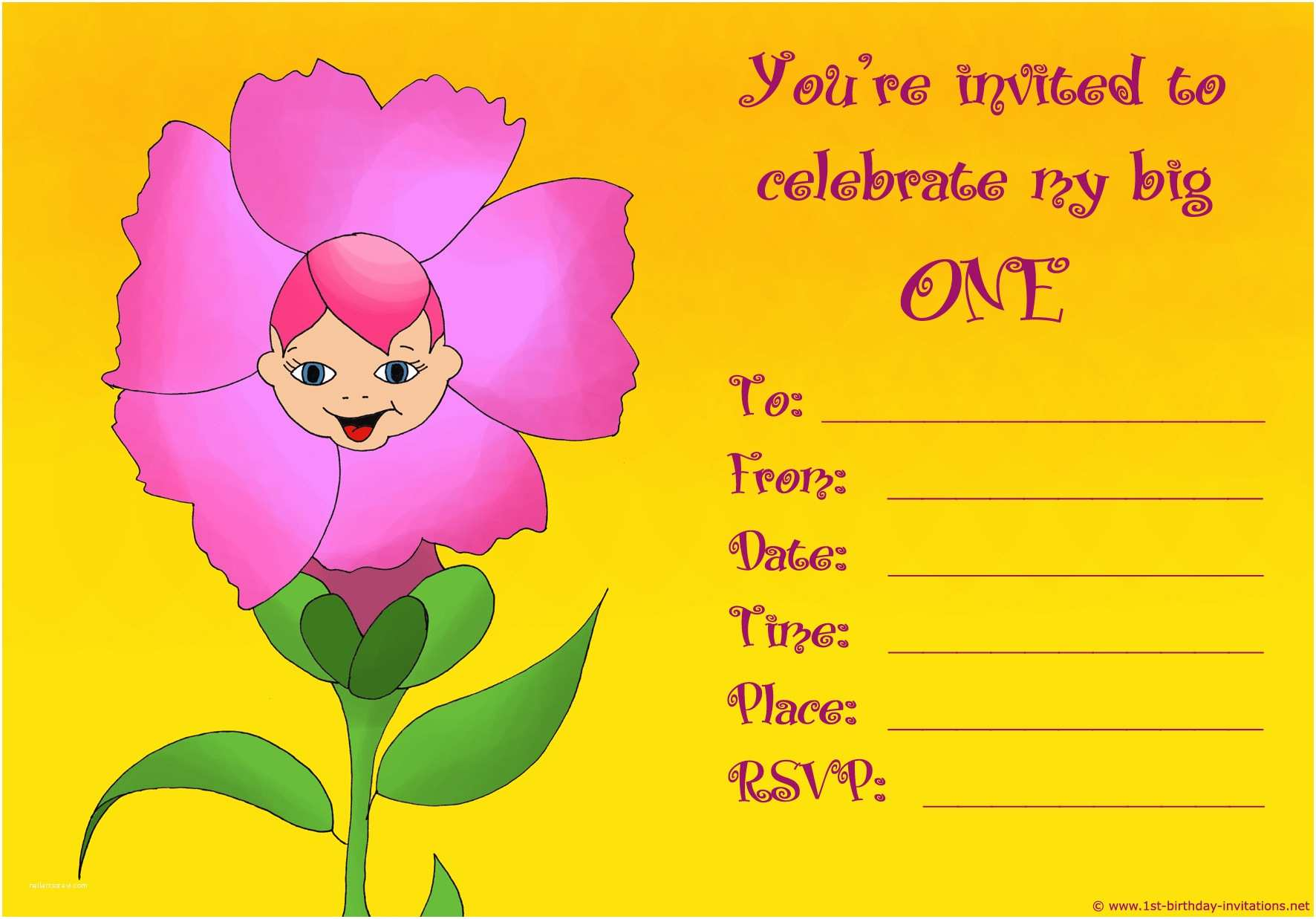 Birthday Invitation Cards 20 Cute 1st Birthday Invitations Free Printable and
