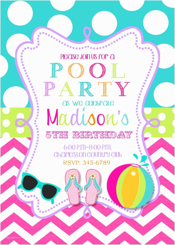Birthday Invitation Ideas Pool Party Invitations