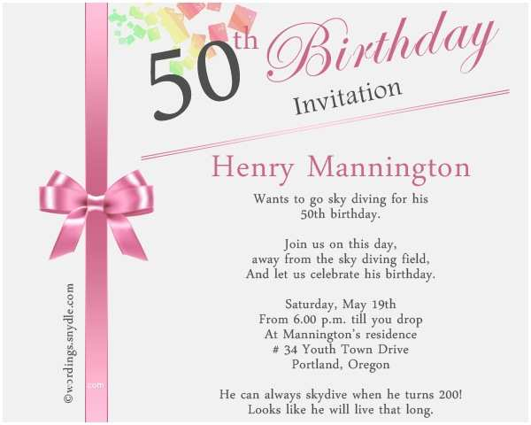 Birthday Invitation Message 50th Wording Samples Wordings And