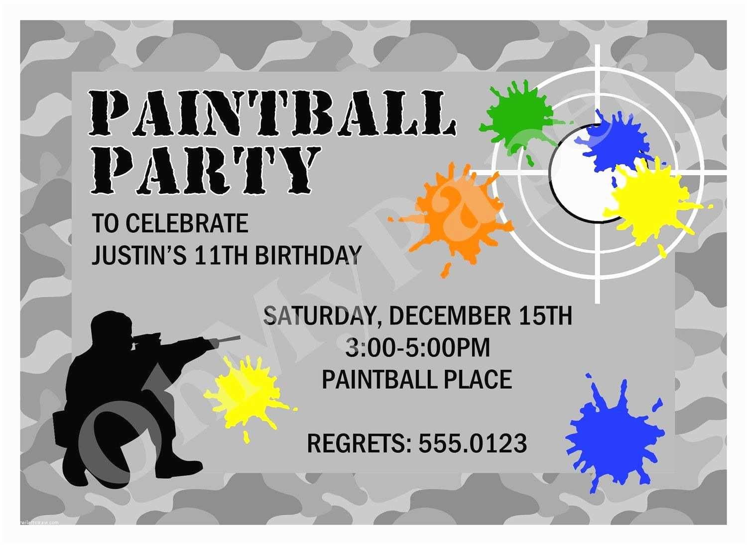 Birthday Invitation Templates Free Paintball Party Invitation Template