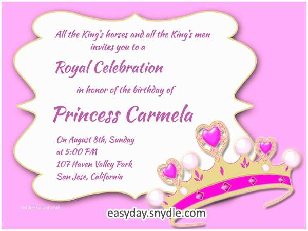 Birthday Invitation Text Princess Birthday Invitation Wording Samples and Ideas