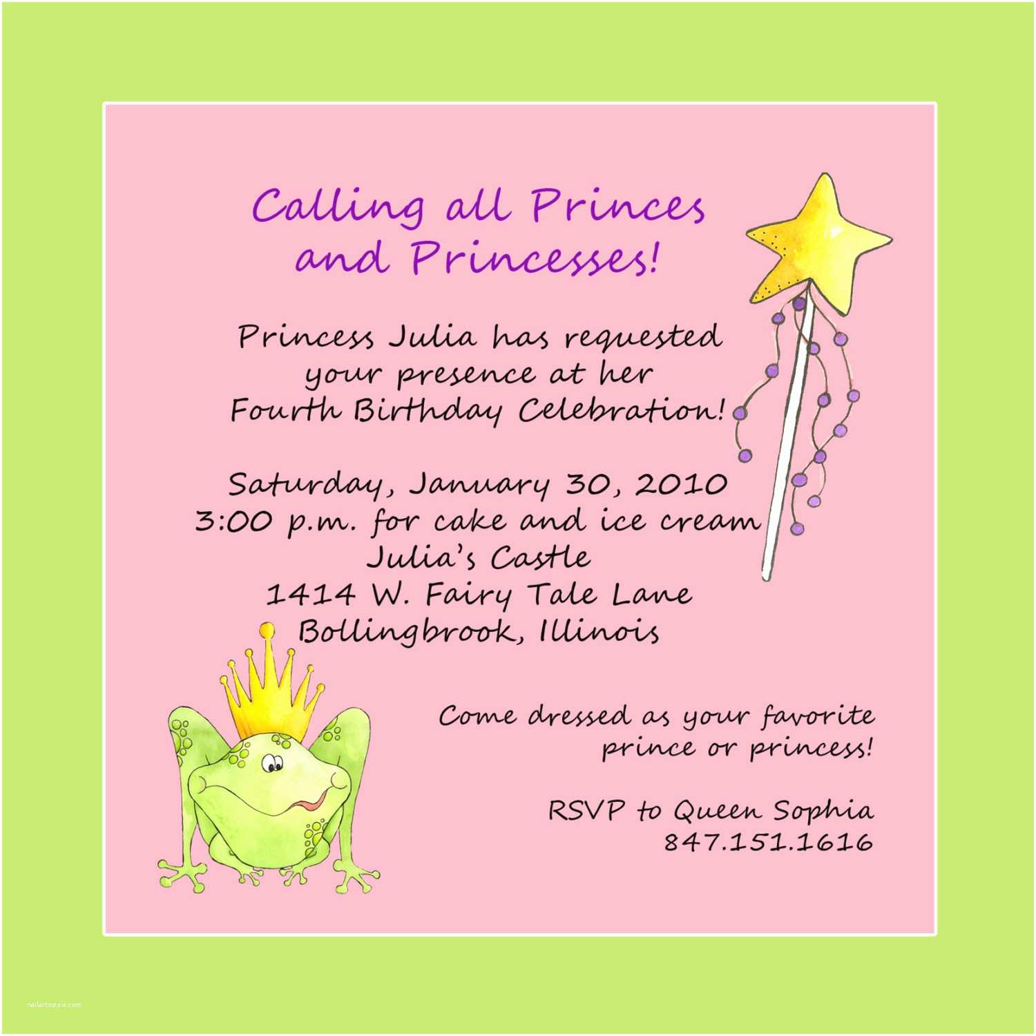 Birthday Invitation Text Princess Theme Party Custom Wording