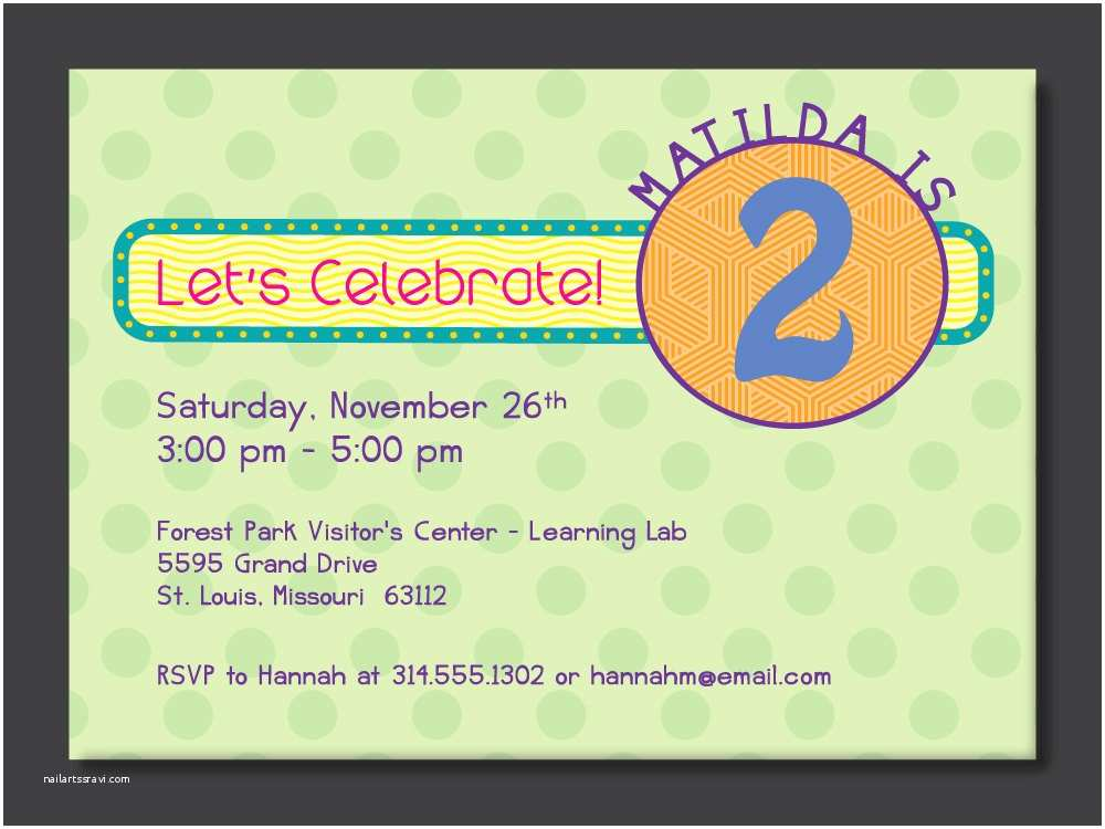 Birthday Invitations For Kids 2nd Party Invitation