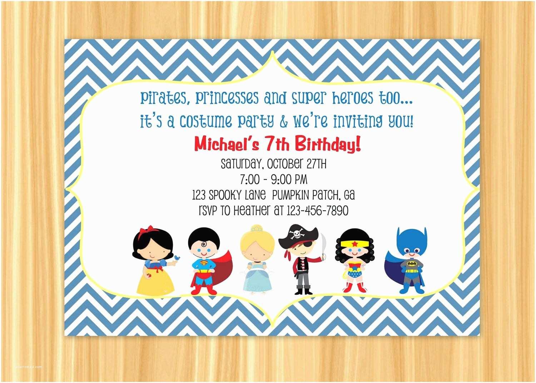Birthday Invitations for Kids Custom Printable Kids Costume Party Birthday Invitation