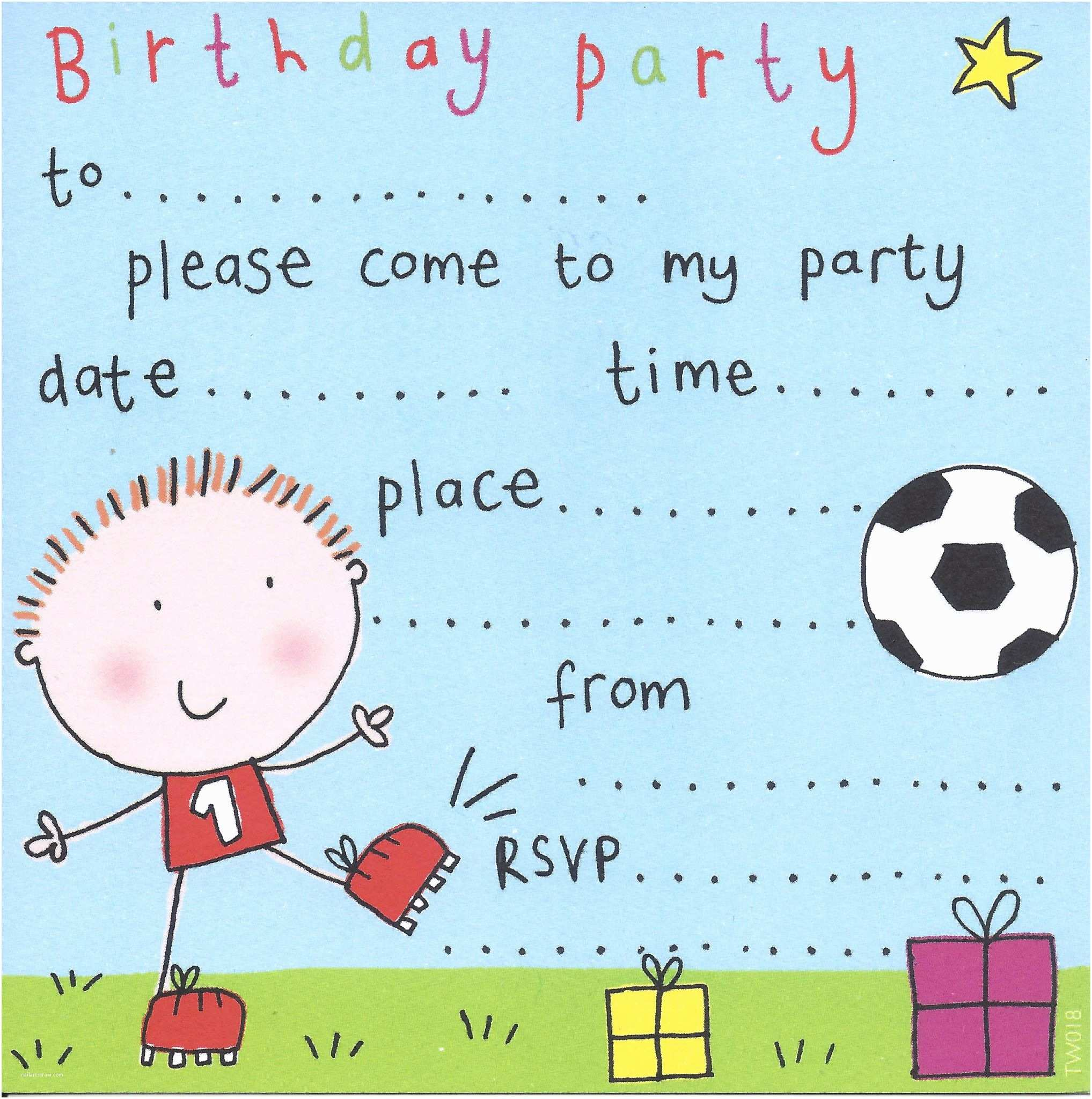 football childrens party invitation 5 p