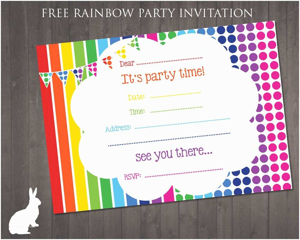Birthday Invitations Free Rainbow Party Invitation