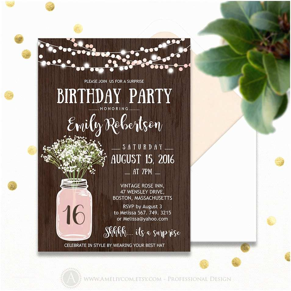 Birthday Invitations Surprise Party Printable Sweet 16 Girl