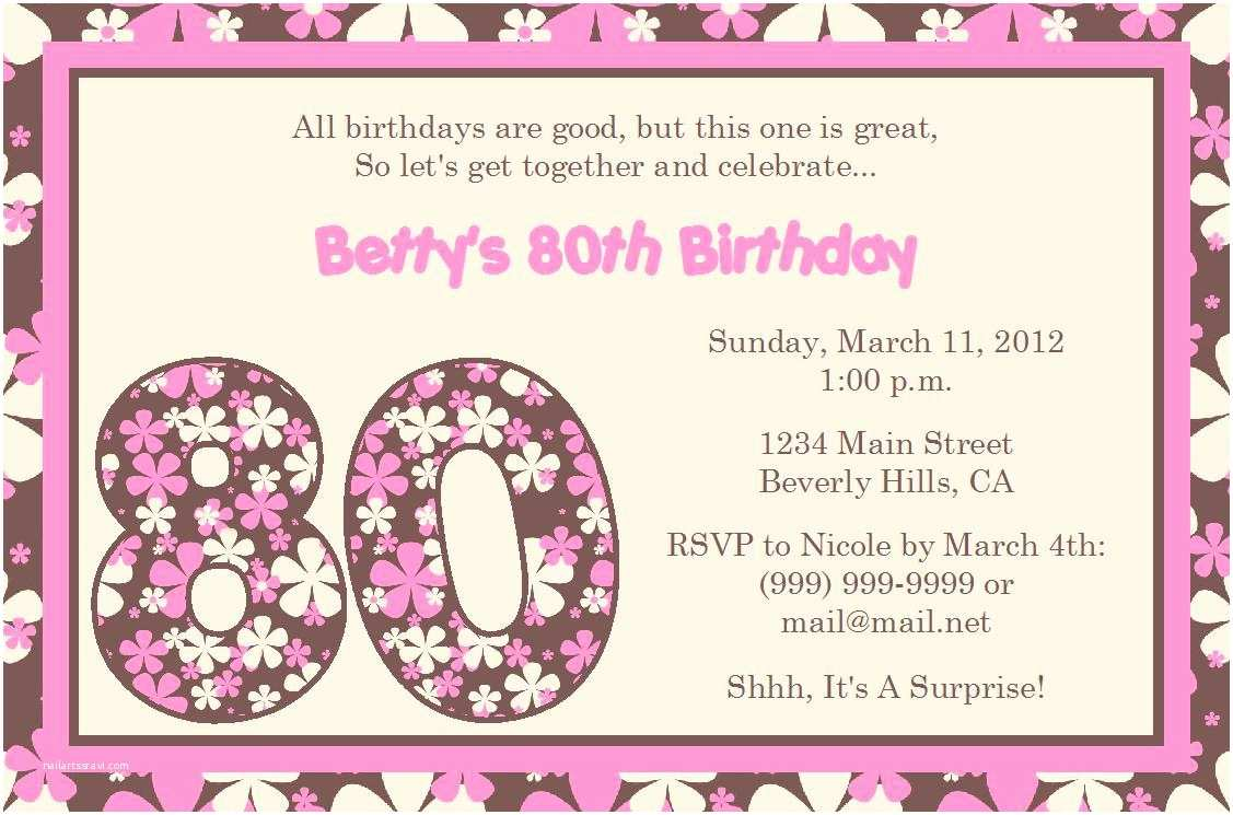 Birthday Invitations Templates 15 Sample 80th Birthday Invitations Templates Ideas