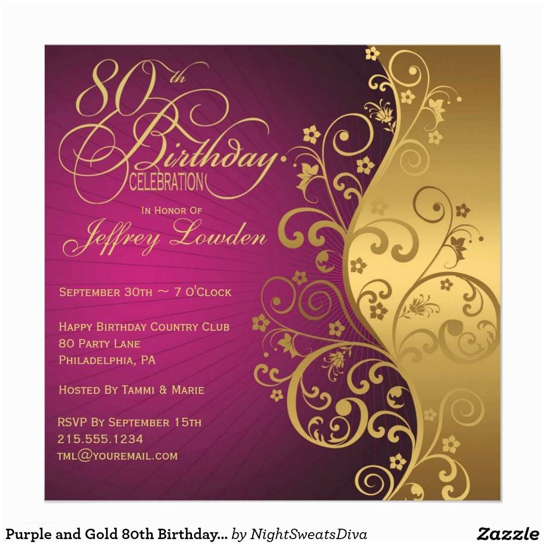 Birthday Invitations With Picture Invites 80th Party Sample