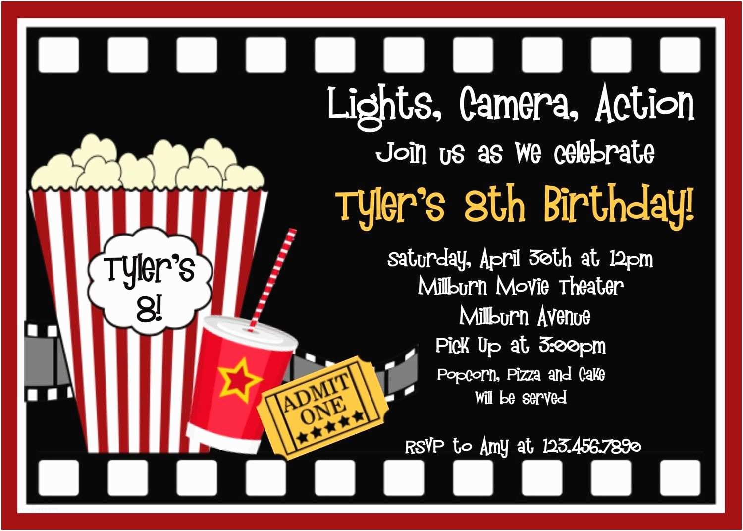 Birthday Invitations with Picture Movie Birthday Invitations Movie Night Birthday Party