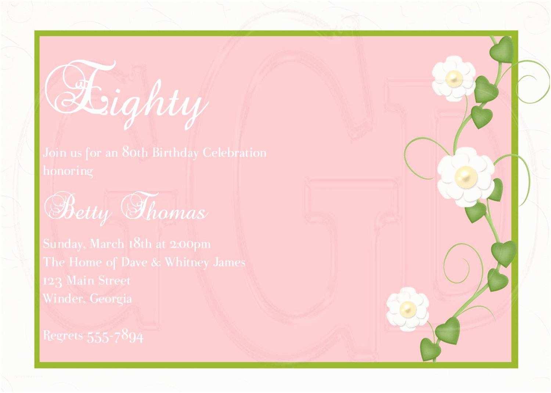 Birthday Invite Wording 15 Sample 80th Invitations Templates Ideas
