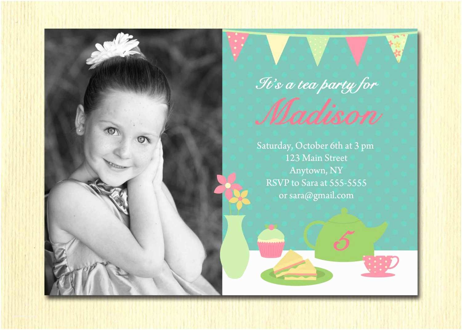 Birthday Invite Wording 5 Year Old Invitation