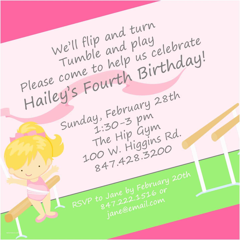 Birthday Invite Wording Gymnastics Birthday Party Invitation Wording