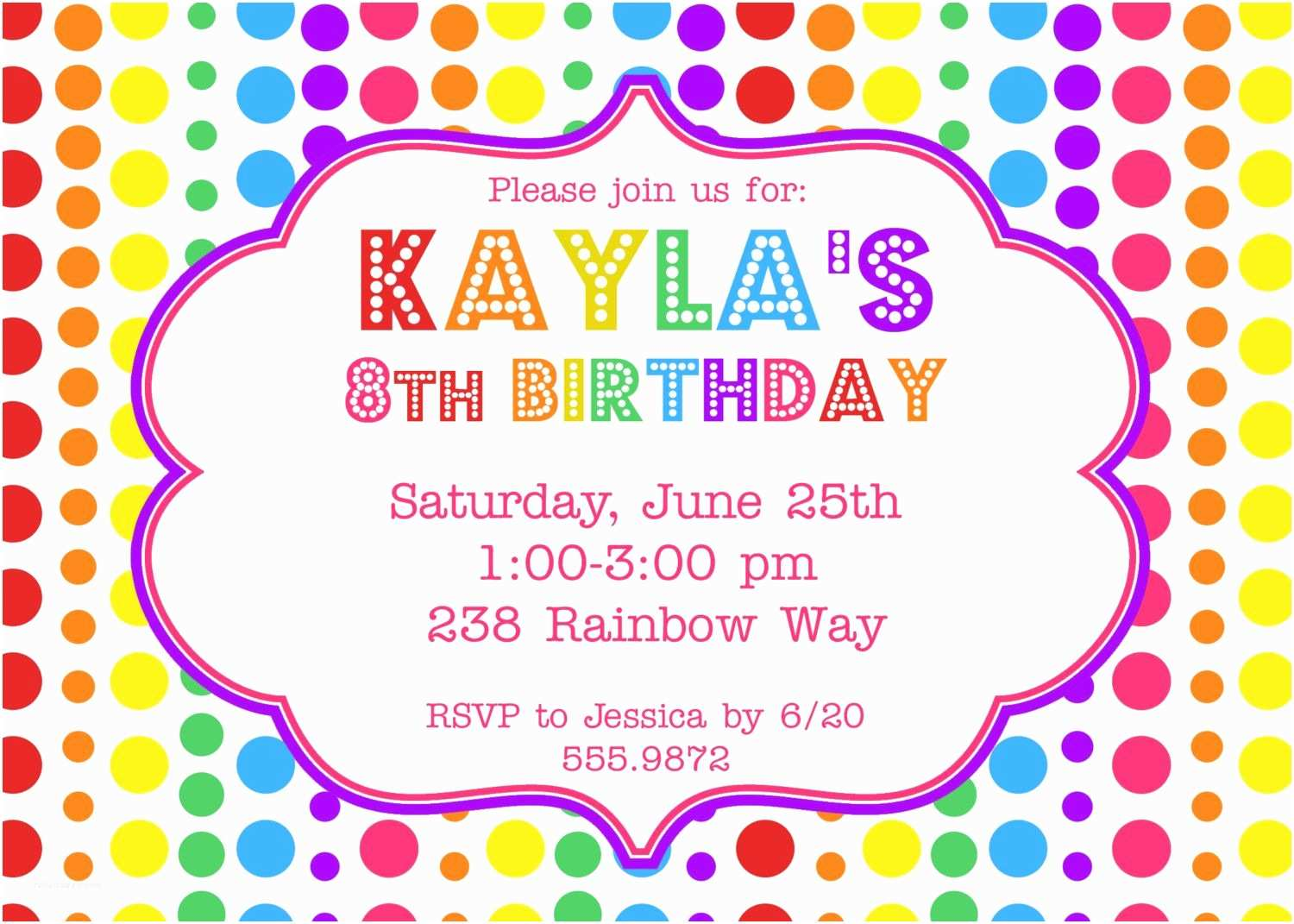 Birthday Party Invitation Ideas Rainbow Birthday Party Invitation $12 00 Via Etsy