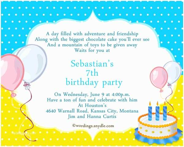 Birthday Party Invitation Message 7th Birthday Party Invitation Wording Wordings and Messages